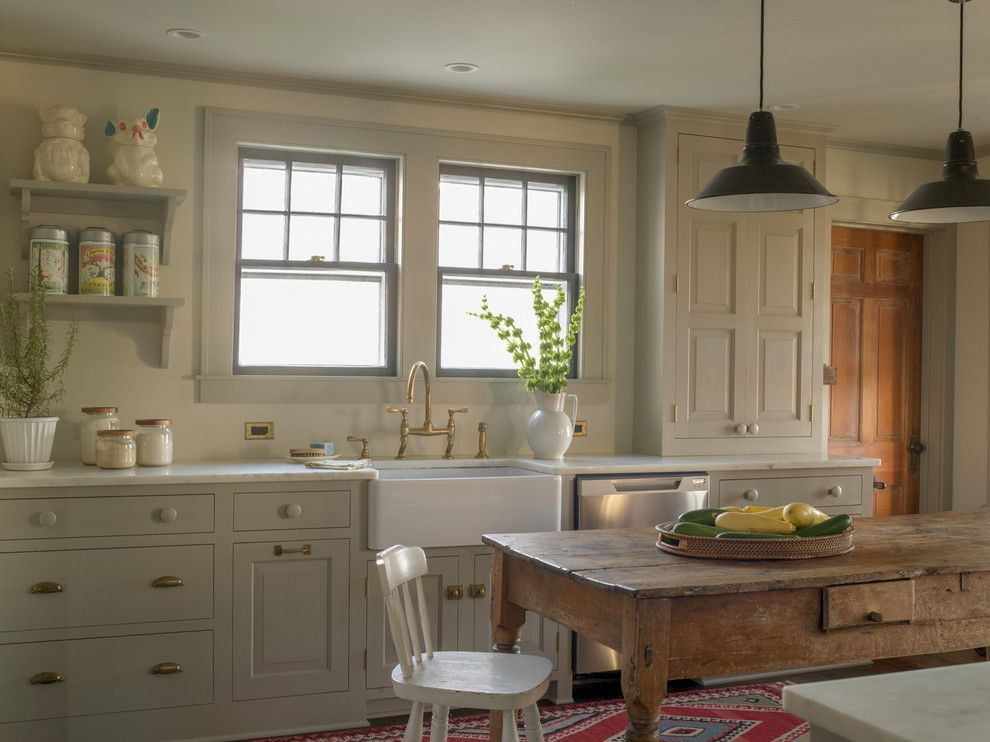 Chalk Paint Kitchen Cabinets for a Farmhouse Kitchen with a Open Wall Shelves and 1929 Farmhouse Renovation by Rafe Churchill: Traditional Houses