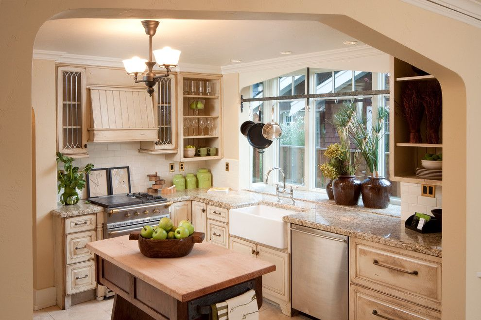 Chalk Paint Kitchen Cabinets for a Traditional Kitchen with a Remodel and Classic Tudor Remodel in Bend Oregon by Homeland Design, Llc