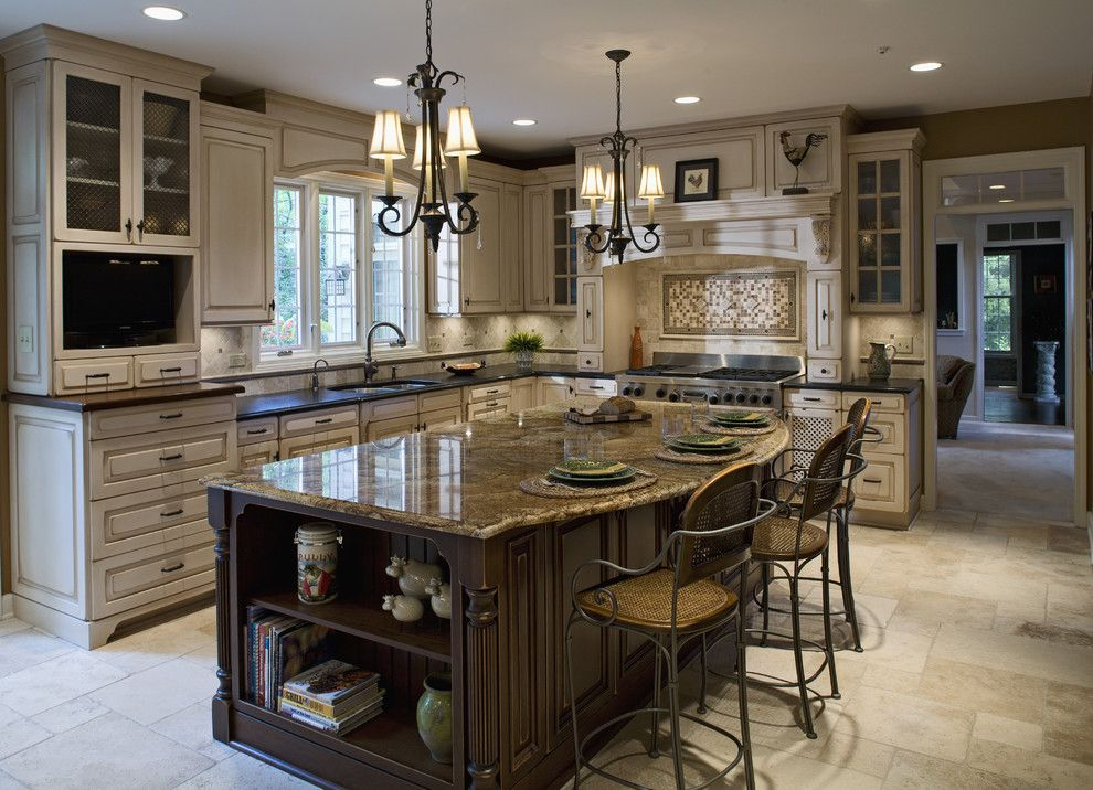Chalk Paint Kitchen Cabinets for a Traditional Kitchen with a Tile Kitchen Backsplash and Barrington Kitchen by Kitchens by Julie