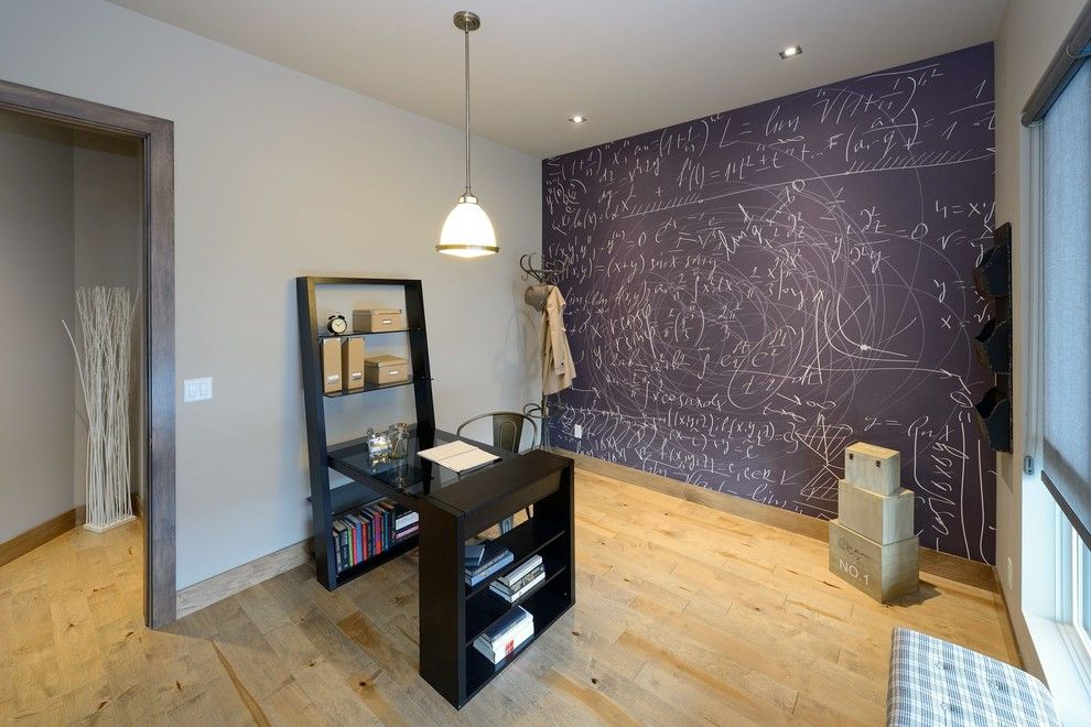 chalkboard paint ideas for a contemporary home office with a baseboard and contemporary home office by