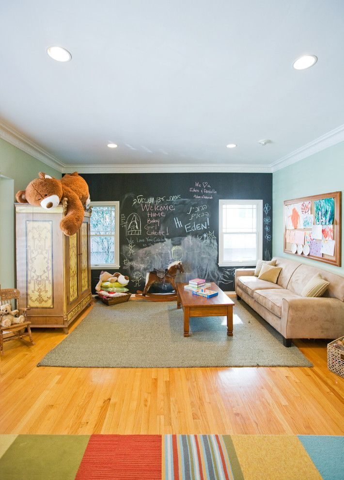 Chalkboard Paint Ideas for a Contemporary Kids with a Chalkboard Wall and Playroom   Los Feliz Residence by Jill Seidner Interior Design