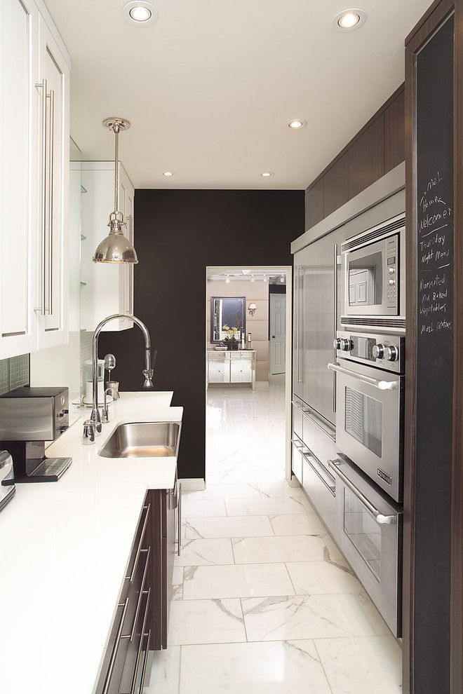Chalkboard Paint Ideas for a Contemporary Kitchen with a Chalkboard and Galley Kitchen by Arnal Photography