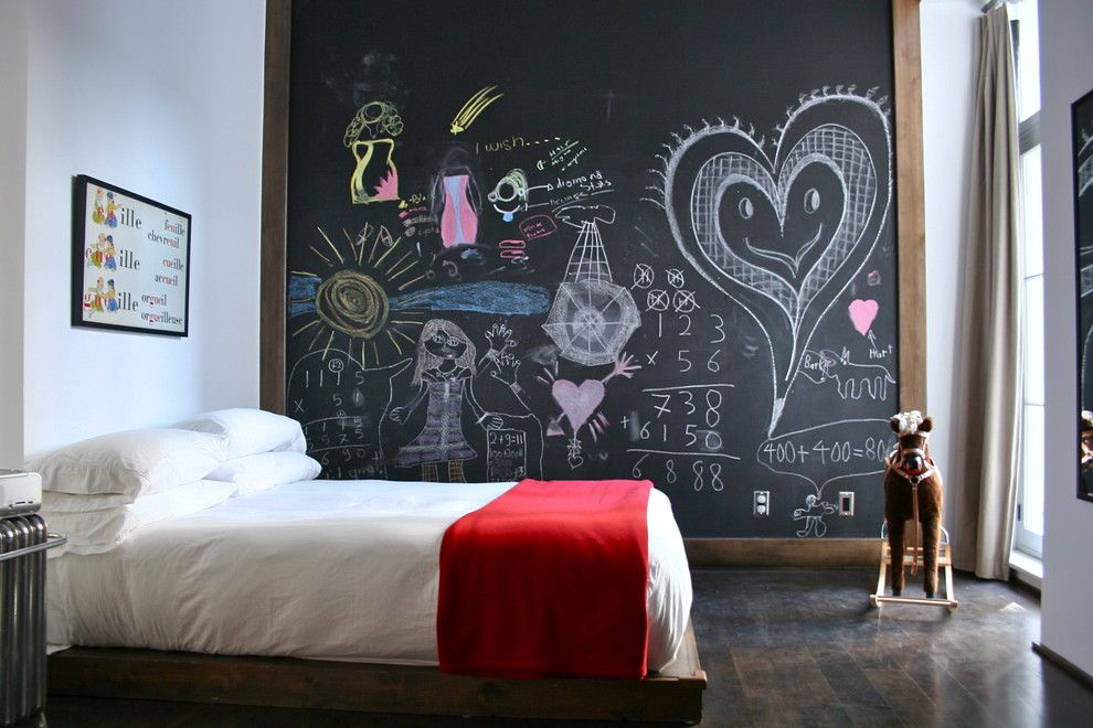 Chalkboard Paint Ideas for a Eclectic Kids with a Red Blanket and K I D S  S P a C E S by Catlin Stothers Design