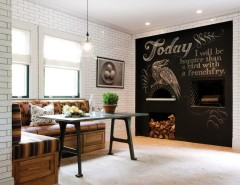 Chalkboard Paint Ideas for a Rustic Dining Room with a Beige Roman Shade and Rustic Reclaimed Chestnut by Crown Point Cabinetry
