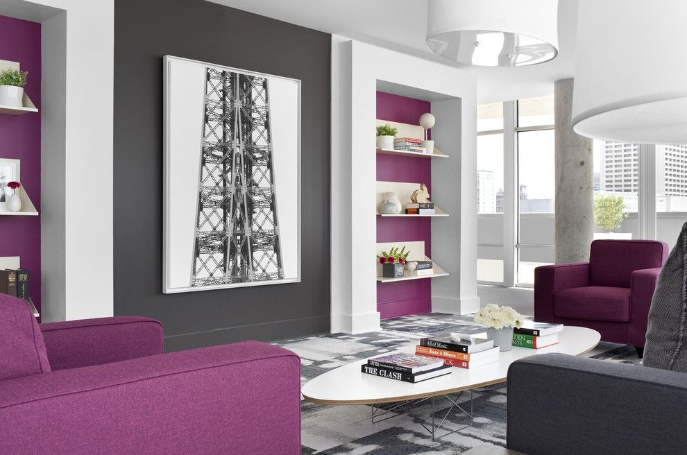 Chartreuse Color for a Contemporary Living Room with a Gray Wall and Sky @ Midcity Lofts by Niki Papadopoulos