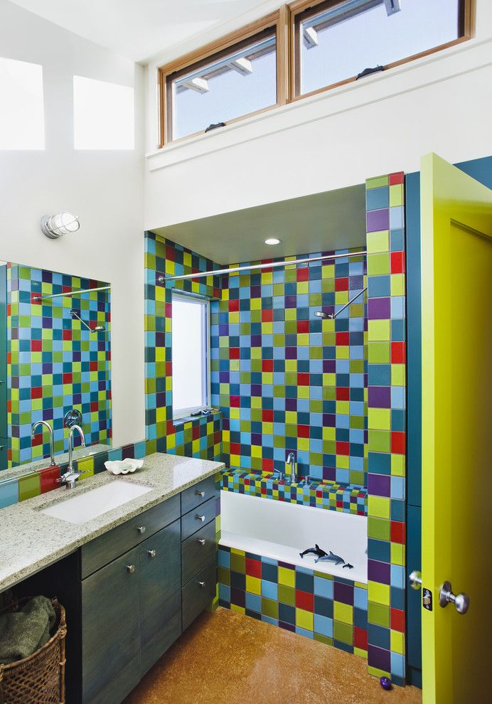 Chartreuse Color for a Eclectic Bathroom with a Clerestory and Santa Cruz Straw Bale House by Arkin Tilt Architects