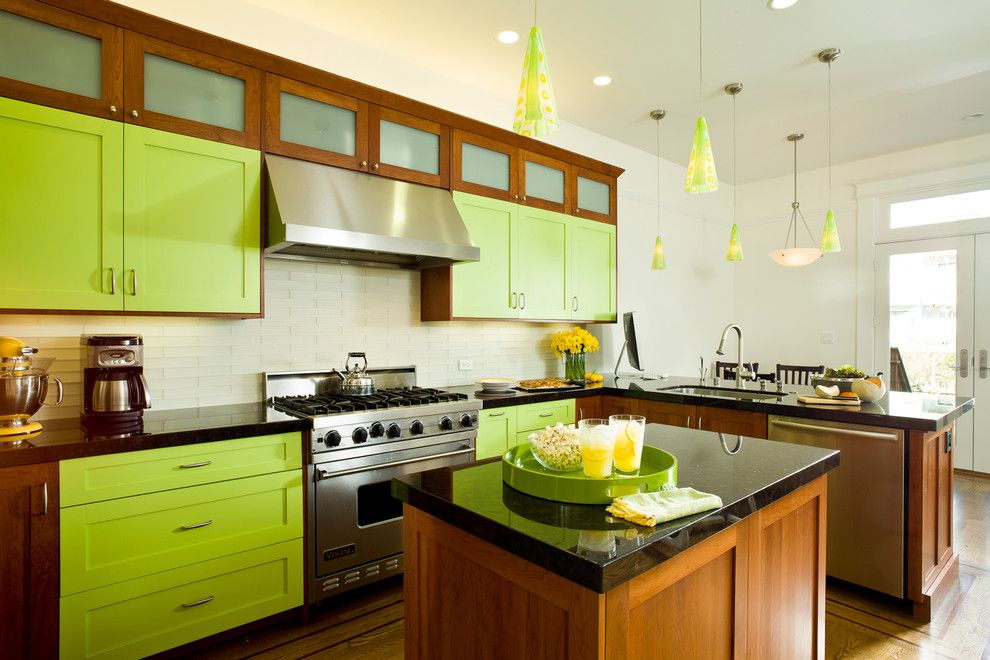 Chartreuse Color for a Eclectic Kitchen with a Wood Floor and Bright Lime Green by Mckinney Photography