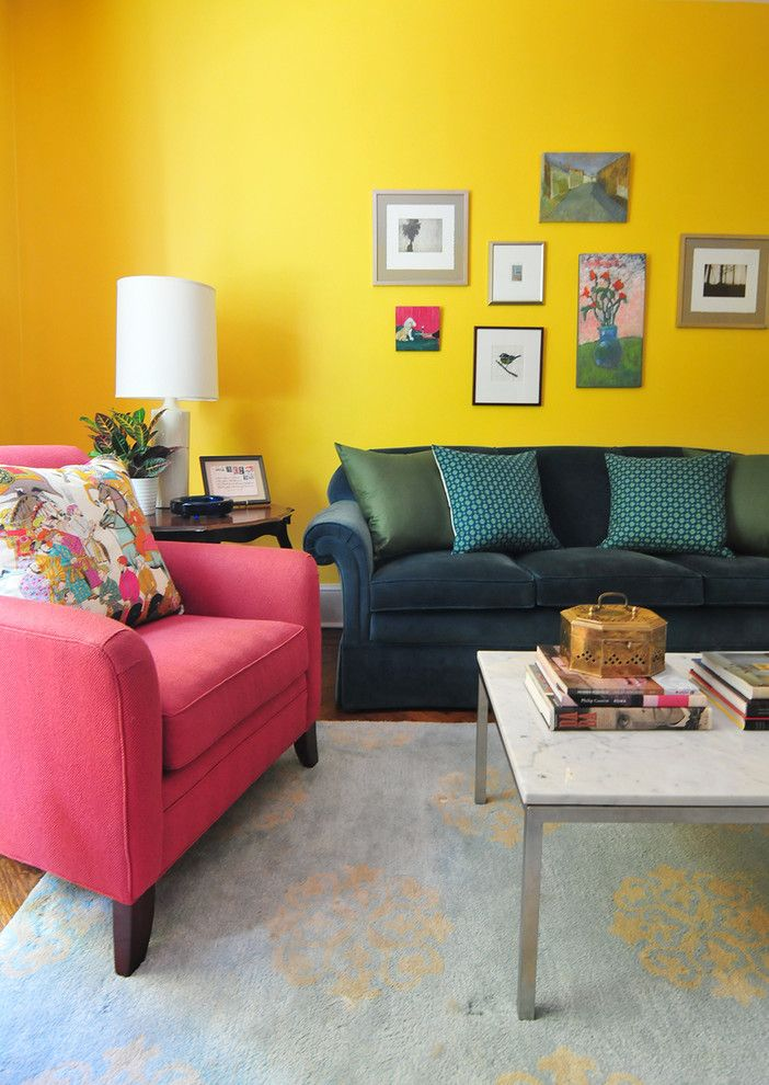 Chartreuse Color for a Eclectic Living Room with a Gray Area Rug and Annie Elliott's Color Splashed Home in Dc by Nicole Crowder Photography