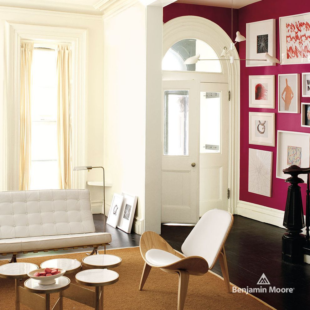 Chartreuse Color for a Modern Living Room with a Dark Wood Floors and Benjamin Moore by Benjamin Moore