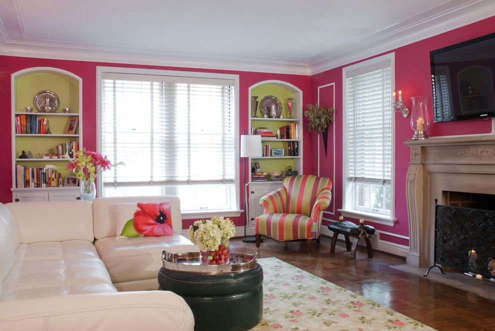 Chartreuse Color for a Traditional Living Room with a Pink and Joni Spear Interior Design by Joni Spear Interior Design