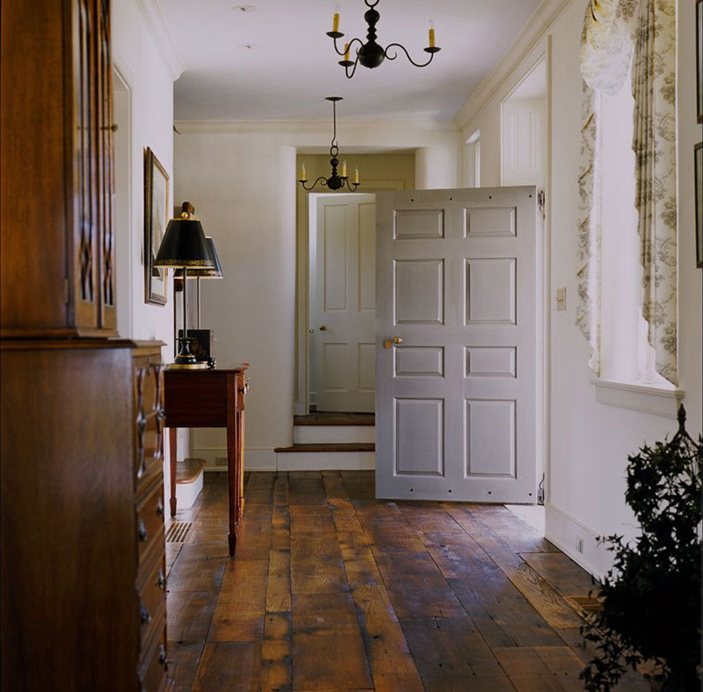 Chelsea Plank Flooring for a Farmhouse Entry with a Front Door and New House   Unionville, Pa by Peter Zimmerman Architects