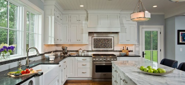 Chelsea Plank Flooring for a Farmhouse Kitchen with a Mantle and Farmhouse Vernacular by Teakwood Builders, Inc.