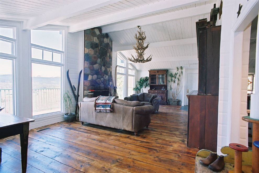 Chelsea Plank Flooring for a Rustic Living Room with a Wood Paneling and Antique Wood Flooring by Uniquities Architectural Antiques & Salvage