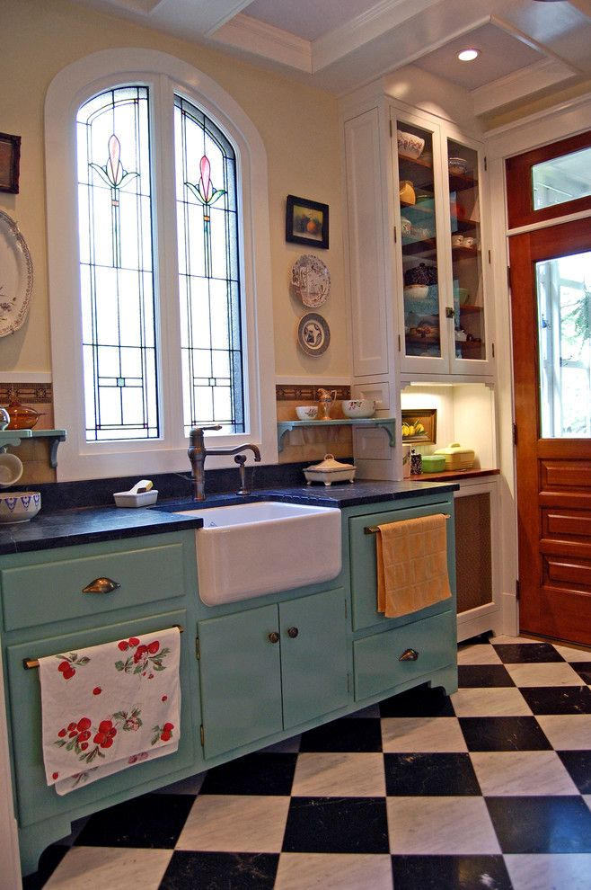 Chicago Faucet Shoppe for a Farmhouse Kitchen with a Farmhouse and Historic Reproduction by Greene & Proppe Design, Inc