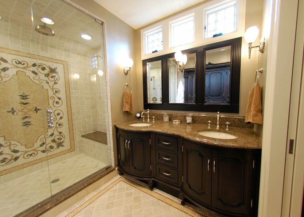 Chicago Faucet Shoppe for a Traditional Bathroom with a Sconce and Bathroom by Cheryl D & Company