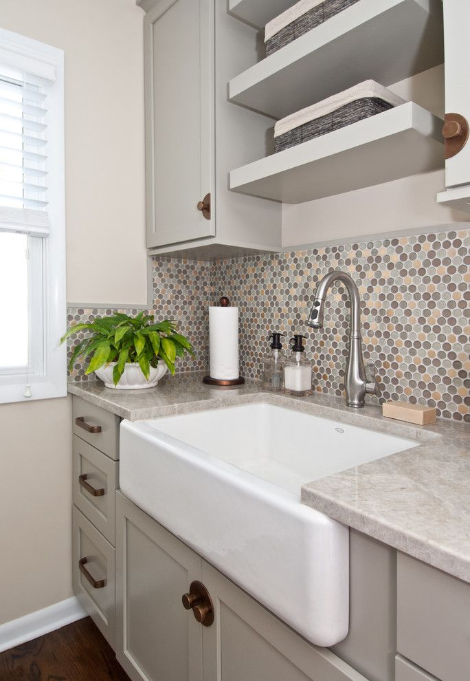 Chicago Faucet Shoppe for a Transitional Laundry Room with a Colorful Tile and Addition for a Suburban Home by Susan Brunstrum of SWEET PEAS DESIGN INC