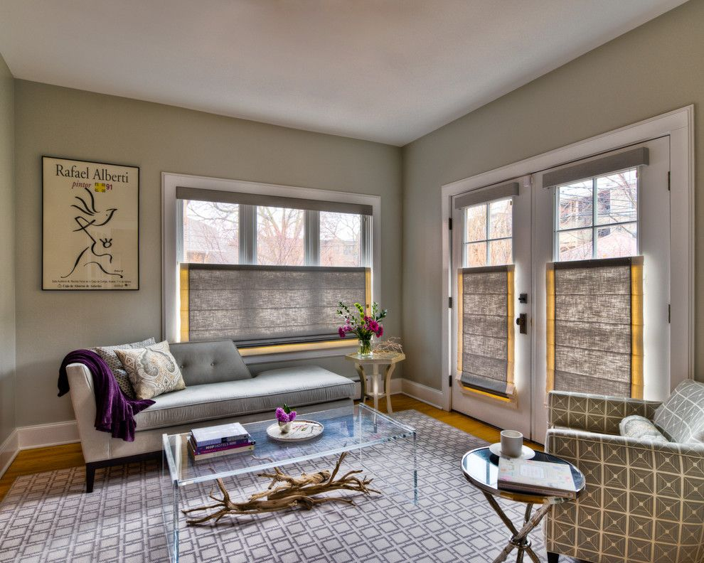 Chicago Points of Interest for a Contemporary Living Room with a Transparent Coffee Table and Chicago Interior Design Gray Sitting Room by Claudia Martin, Asid