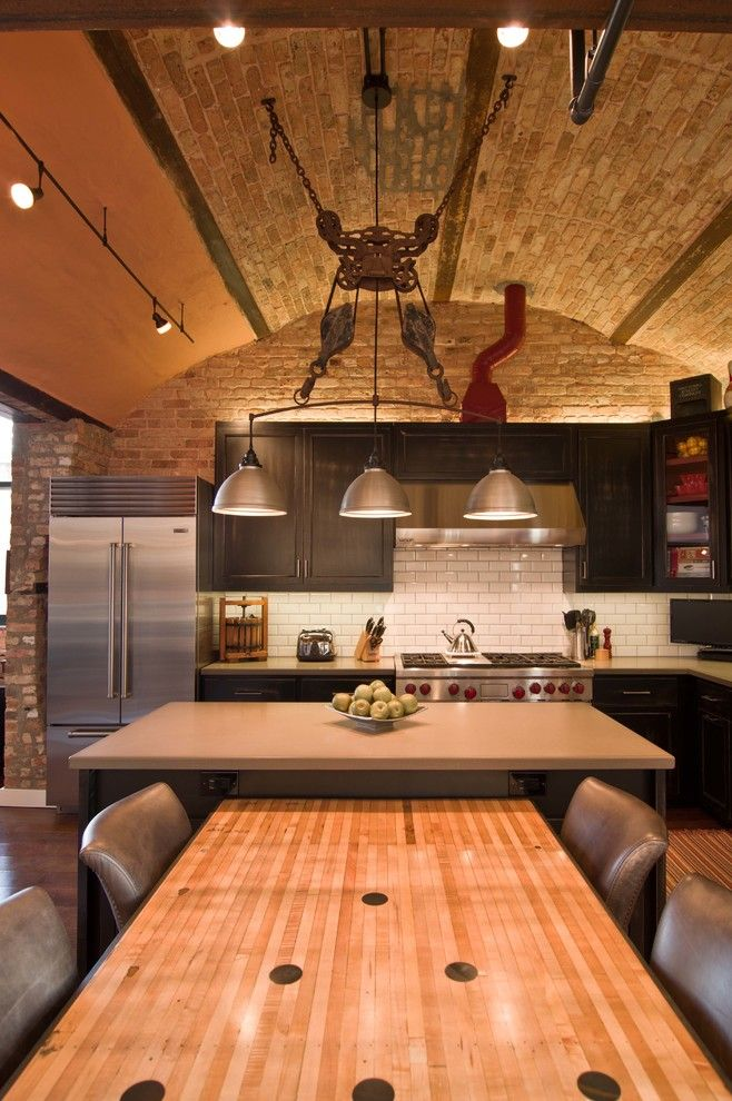Chicago Points of Interest for a Industrial Kitchen with a Concrete Counter Top and Loft Condo Renovation by Besch Design, Ltd.