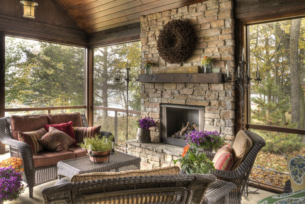 Chilton Furniture for a Rustic Porch with a Enclosed Porch and Porch by Lands End Development - Designers & Builders