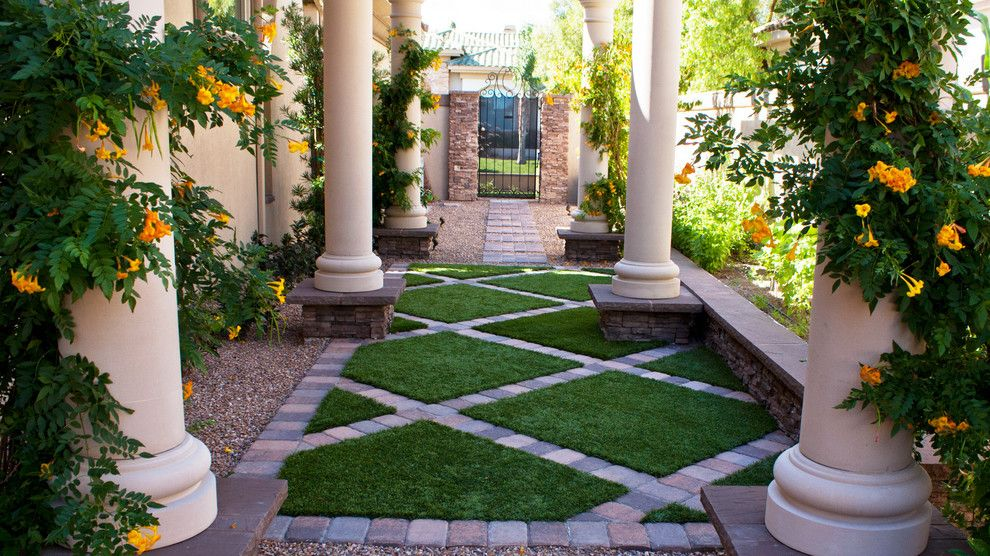 Chip N Dales for a Mediterranean Landscape with a Mediterranean Garden and Synthetic Turf by Chip N Dale's Custom Landscaping