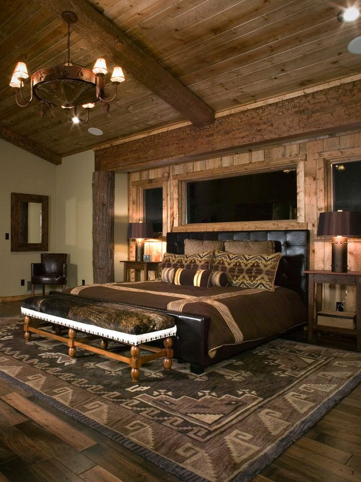 Chippewa Ranch Camp for a Rustic Bedroom with a Metal Chandelier and Timber Lodge by High Camp Home
