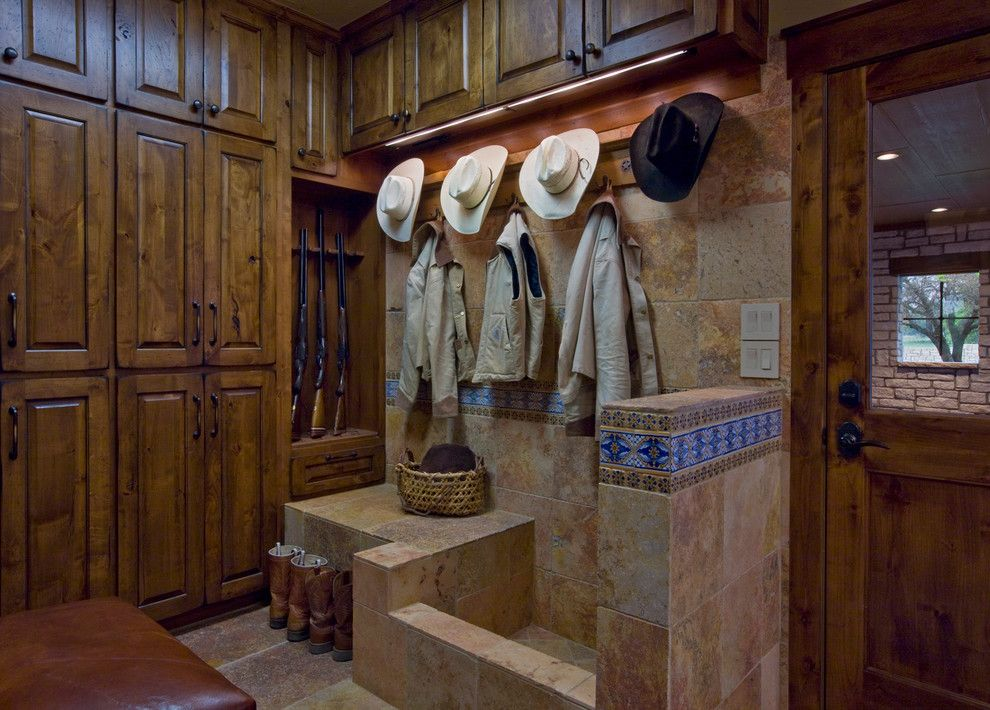 Chippewa Ranch Camp for a Rustic Entry with a Coat Rack and Ranch by Linda Mccalla Interiors
