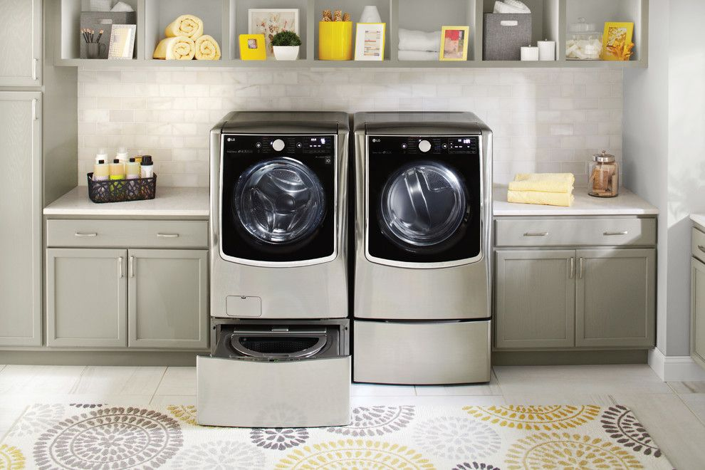 Christmas Pictures Ideas for a Contemporary Laundry Room with a White Countertop and Lg Electronics by Lg Electronics