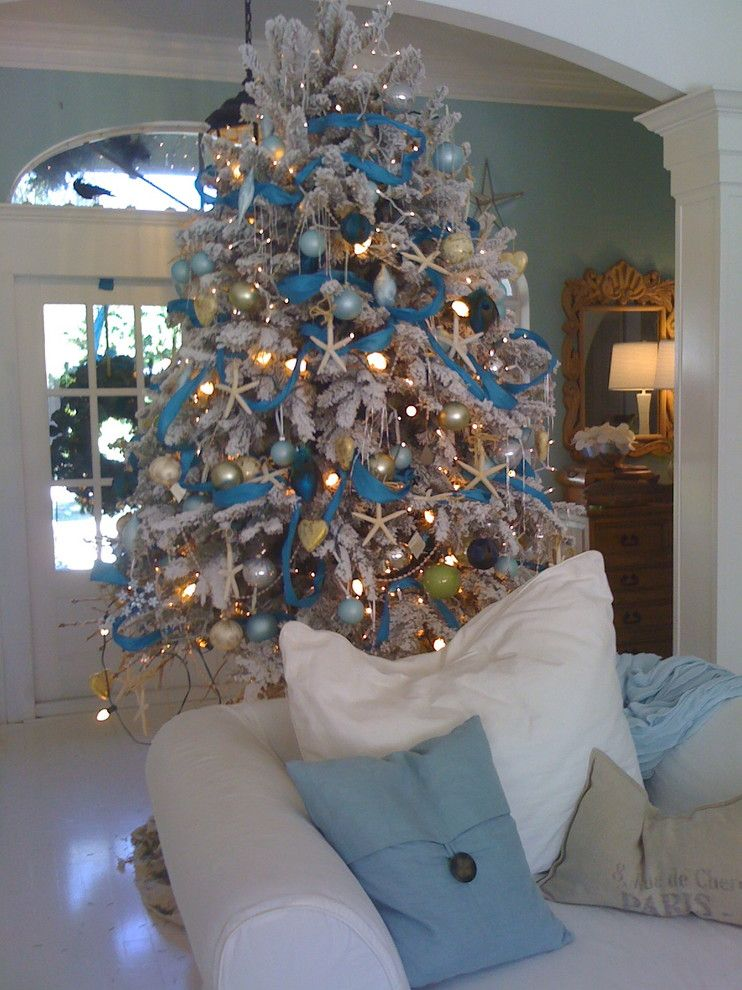Christmas Pictures Ideas for a  Entry with a Florida Beach Style Christmas White Floc and South Florida Style Christmas by Suzanne Pignato