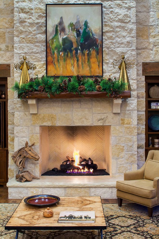 Christmas Pictures Ideas for a Farmhouse Living Room with a Horse Artwork and Hill Country Christmas by Dawn Hearn Interior Design