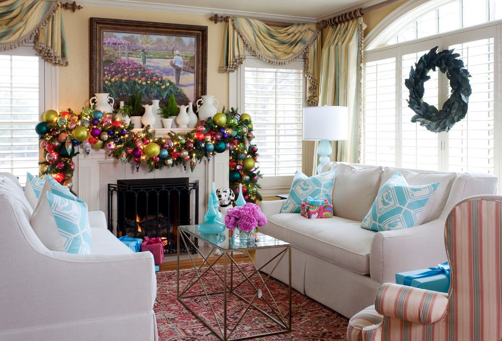 Christmas Pictures Ideas for a Traditional Living Room with a Window Decoration and Holiday by Tobi Fairley Interior Design