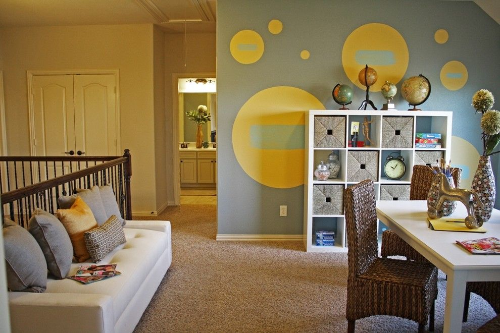 Circlepix for a Eclectic Kids with a Tufted Sofa and Loft by Cristi Holcombe Interiors, Llc