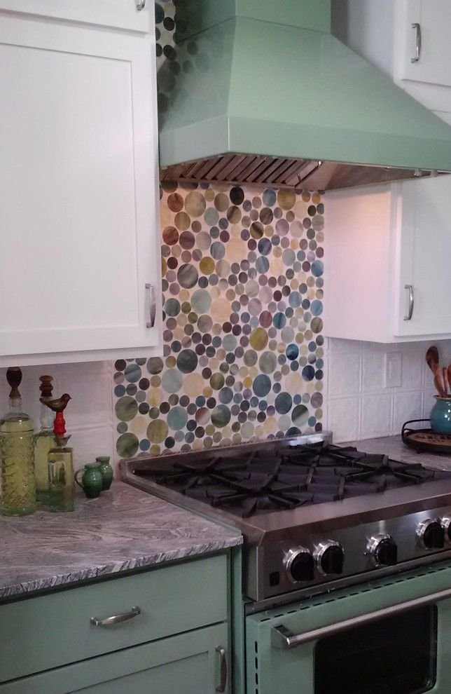 Circlepix for a Farmhouse Kitchen with a Stainglass Backsplash and Creative Cottage Style Kitchen Remodel by Kelli Kaufer Designs