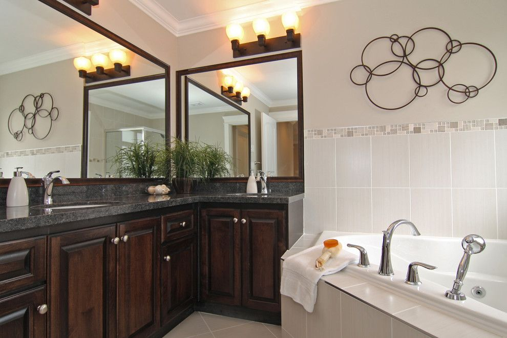 Circlepix for a Traditional Bathroom with a Beige Tile and Stage in Fraser Heights by Kashmir Dhaliwal, Fine Redesign
