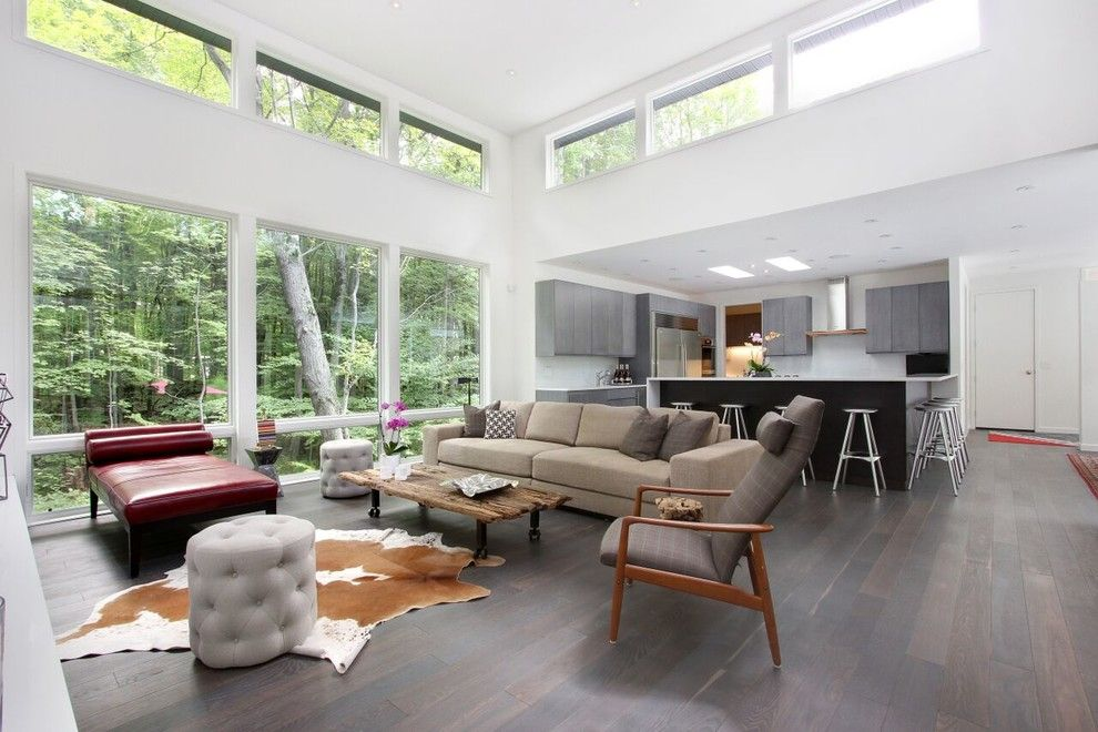 Clerestory Windows for a Contemporary Living Room with a White Oak and Soft Contemporary Home by Rs Design Studio