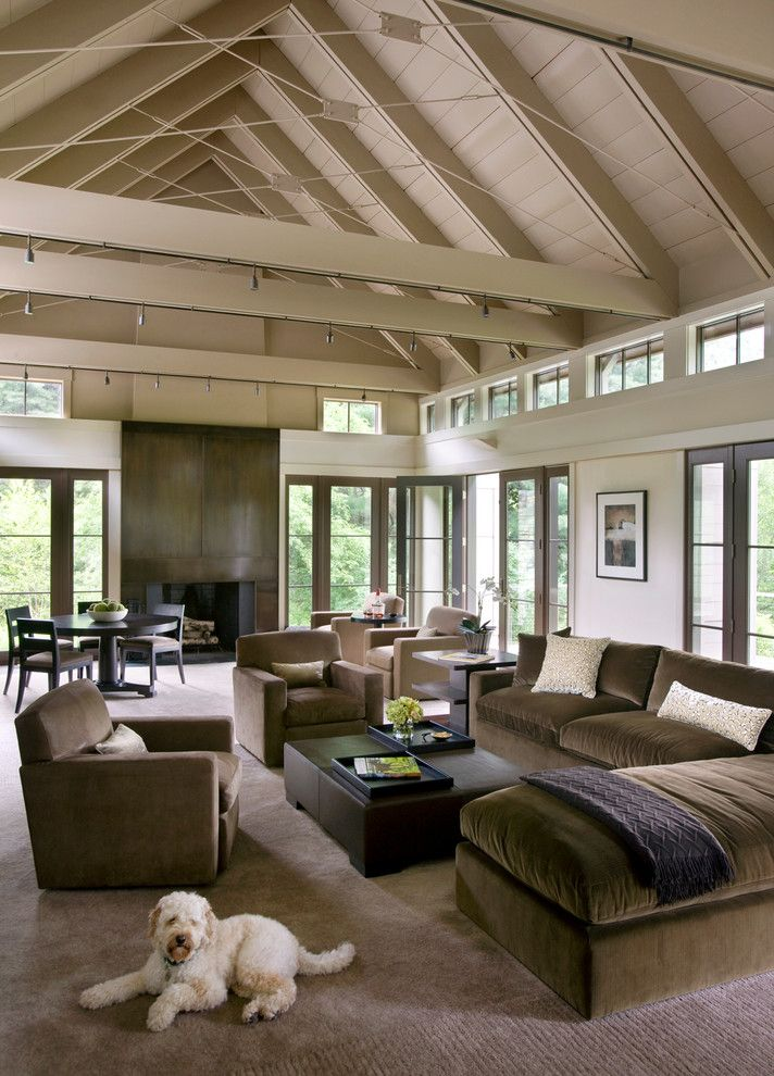Clerestory Windows for a Transitional Living Room with a Cables and Walker Meadow by Hutker Architects