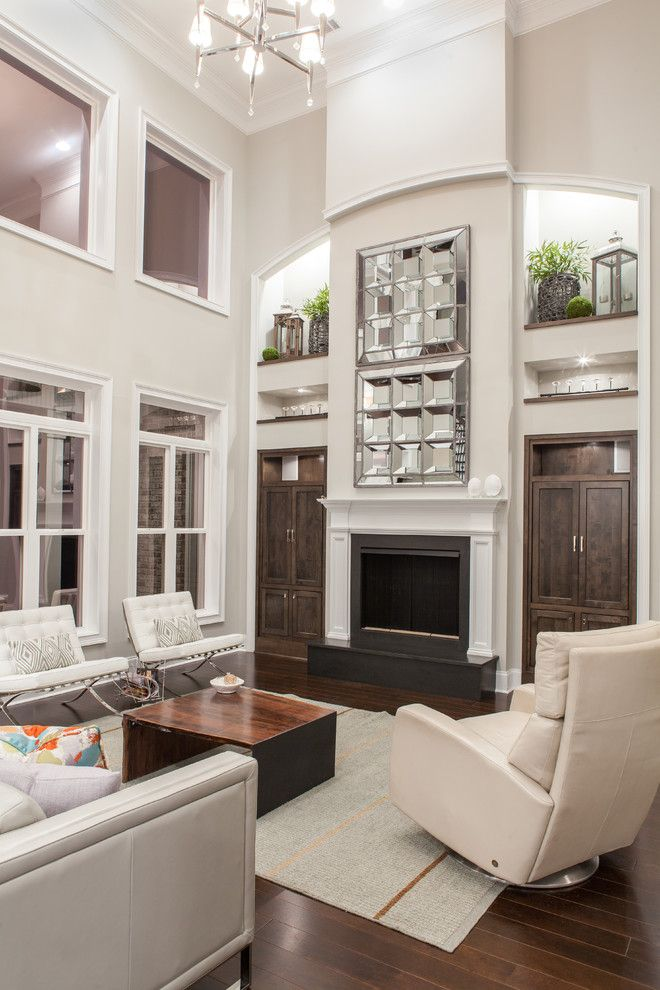 Clerestory Windows for a Transitional Living Room with a White Trim and Ness Project by 24e Design Co.