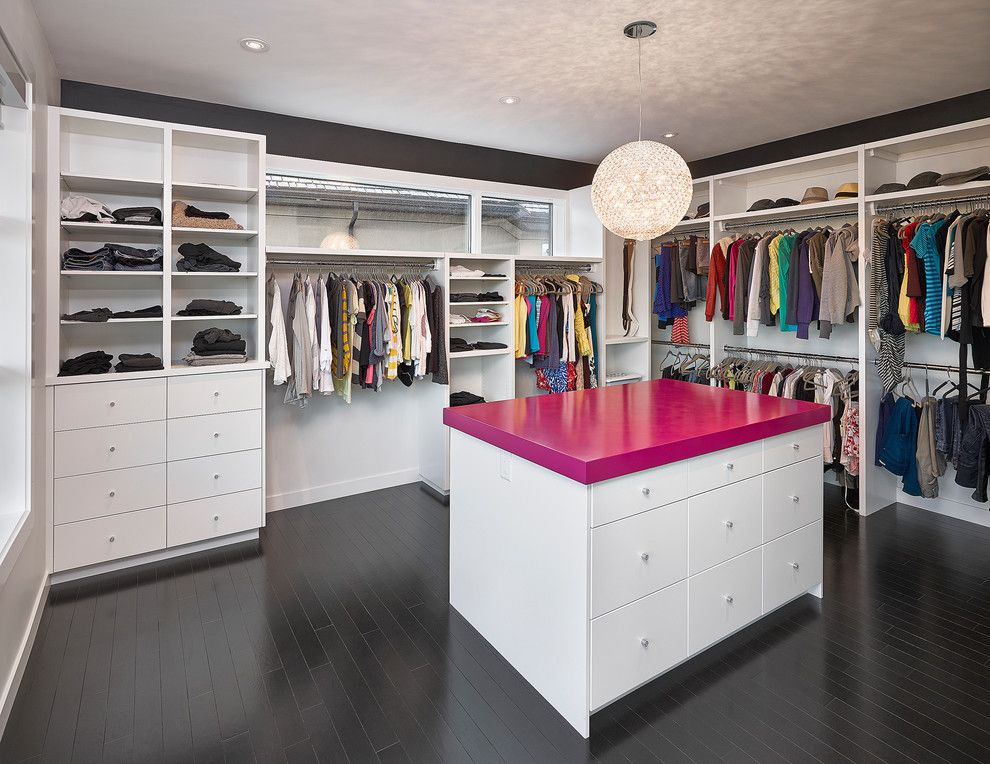 Closet Rod Height for a Contemporary Closet with a Jackets and Walk in Closet by Habitat Studio