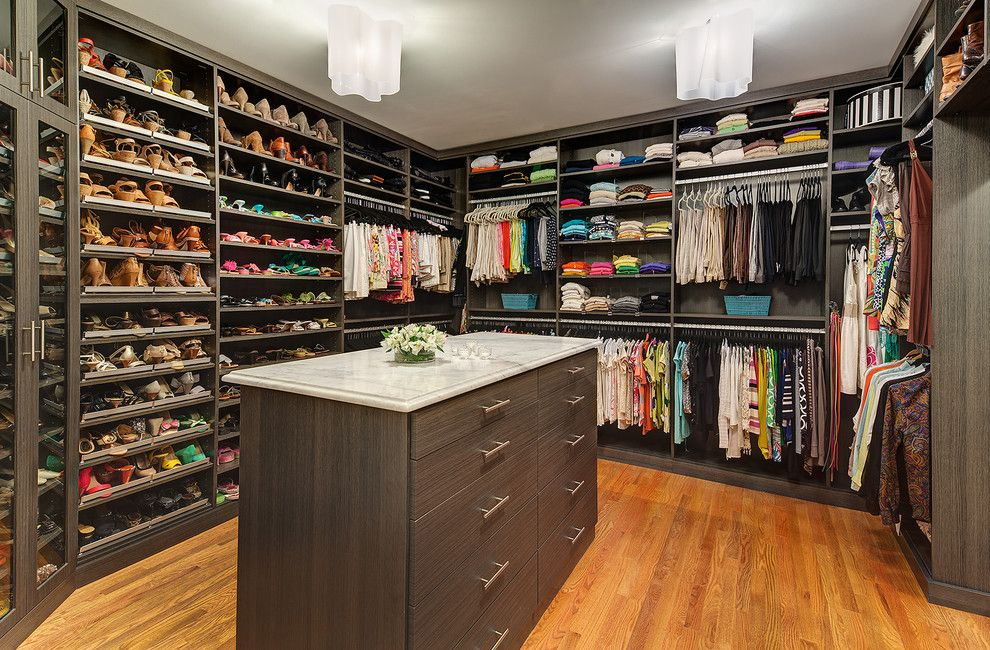 Closet Rod Height for a Contemporary Closet with a Shoe Storage and Problems Solved. by Carnemark Design + Build