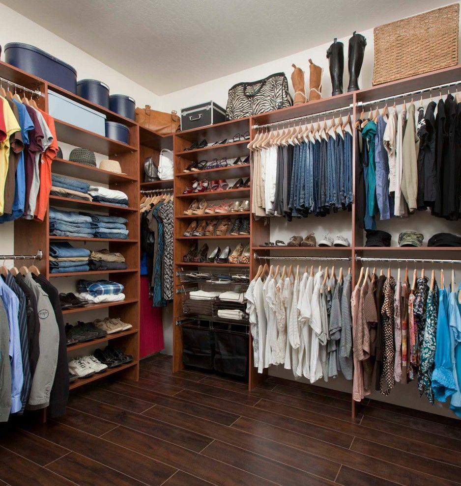 Closet Rod Height for a Traditional Closet with a Warm Cognac and Warm Cognac Closets by Arizona Garage & Closet Design