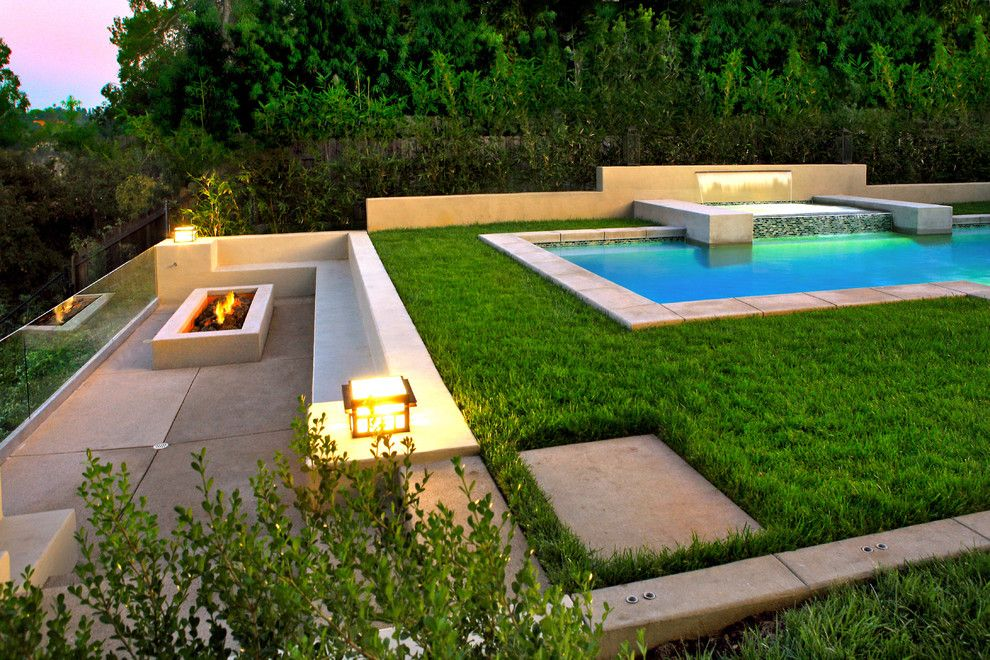 Clover Pools for a Contemporary Landscape with a Contemporary and Linda Vista Rose Bowl Pool View by Estate Pools & Landscapes Design/build