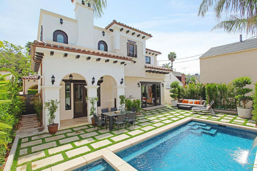 Clover Pools for a Mediterranean Exterior with a Outdoor Dining and Beverly Hills Residence by Aly Daly Design