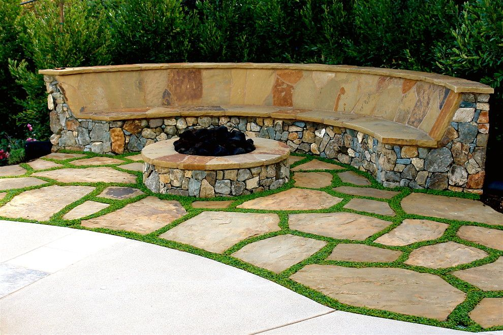 Clover Pools for a Mediterranean Landscape with a Stone Patio and Las Villas by Demaria Landtech, Inc.