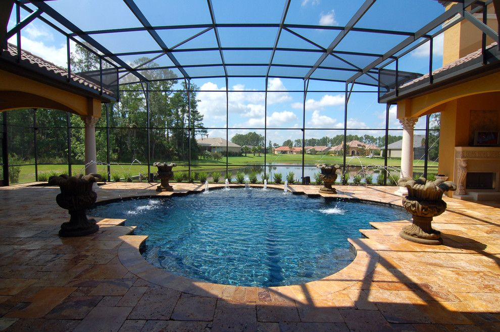 Clover Pools for a Mediterranean Pool with a Antique Gold and Antique Gold Travertine Pavers by Travertine Warehouse
