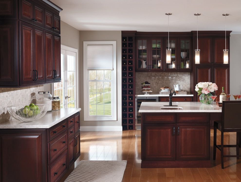 Clovis Glass for a Traditional Kitchen with a Bar Sink and Kitchen Cabinets by Capitol District Supply