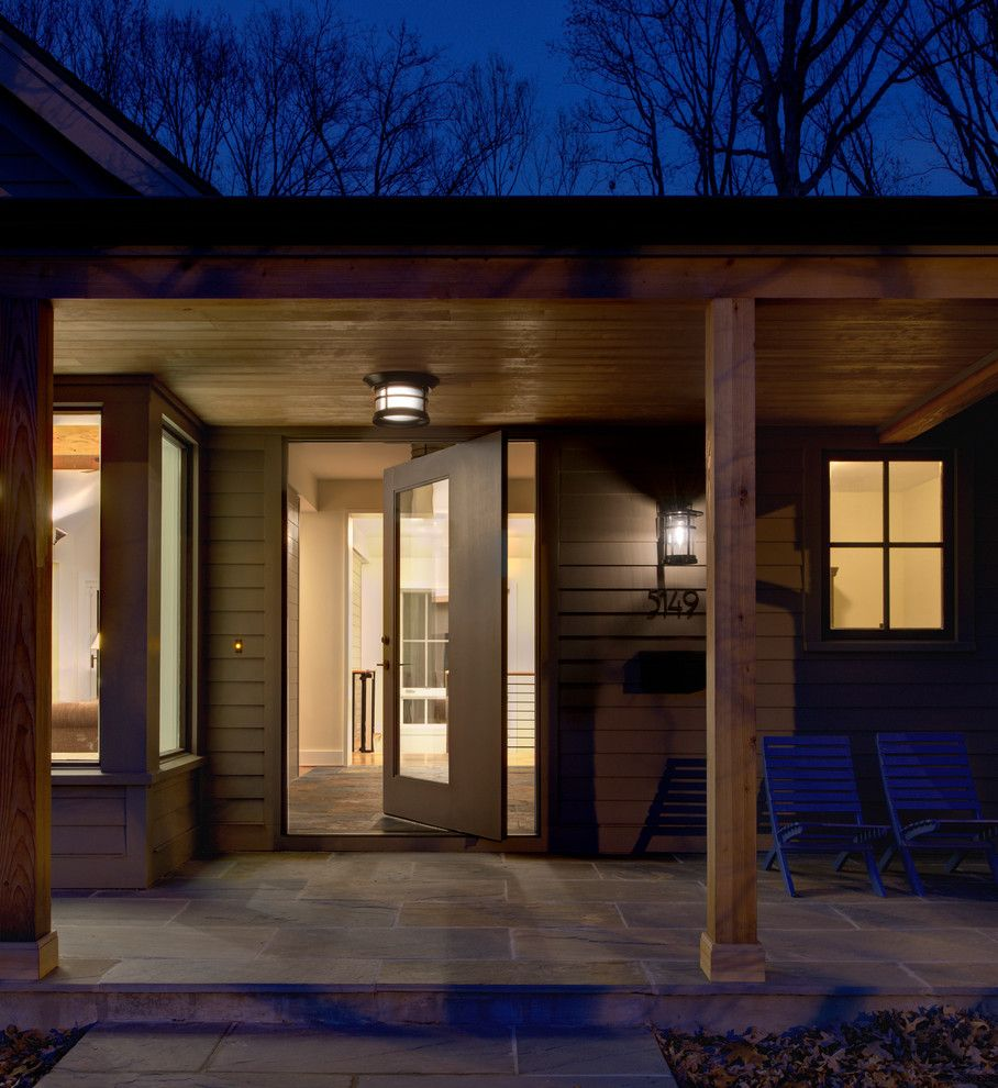 Codel Doors for a Contemporary Entry with a Flat Roof and Woodland Residence by Moore Architects, Pc