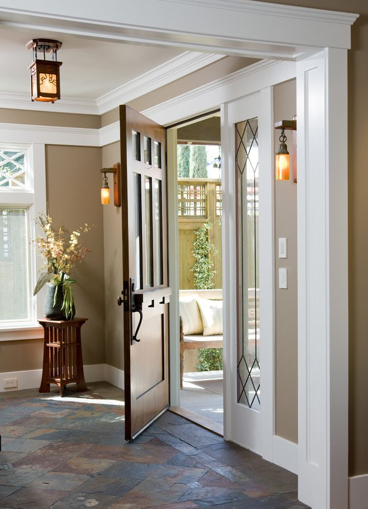 Codel Doors for a Craftsman Entry with a Ceiling Lighting and Custom Craftsman by Dorothy Howard Aia, Architect