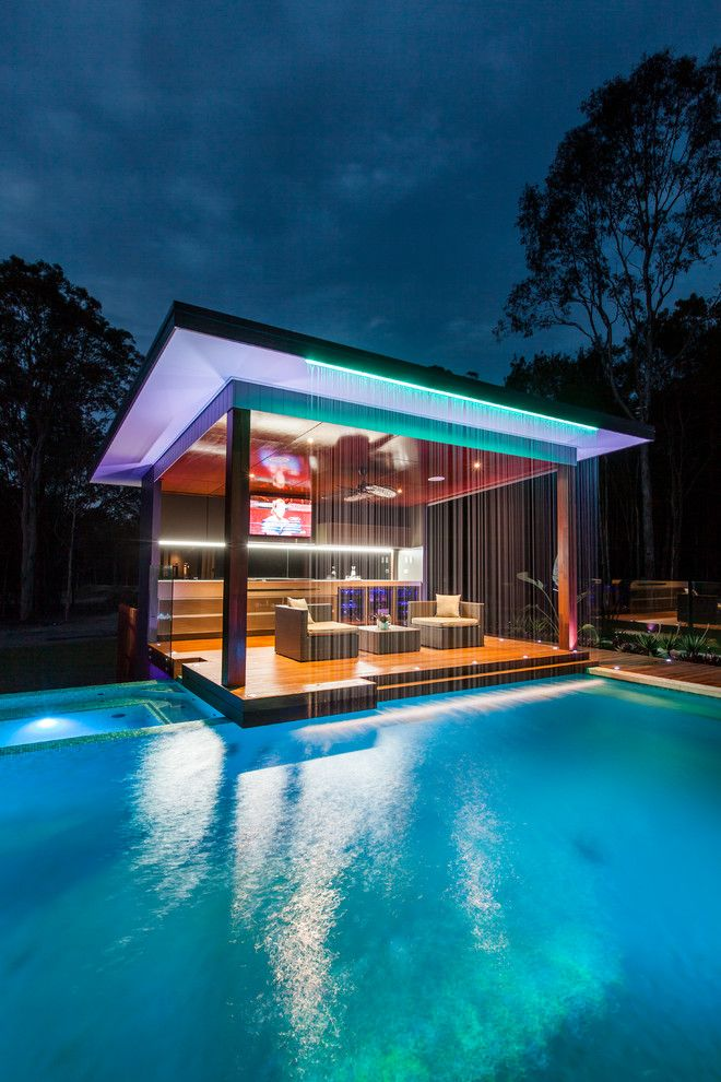 Cody Pools for a Contemporary Pool with a Outdoor Chaise Lounges and Outdoor Living Project by Darren James Interiors