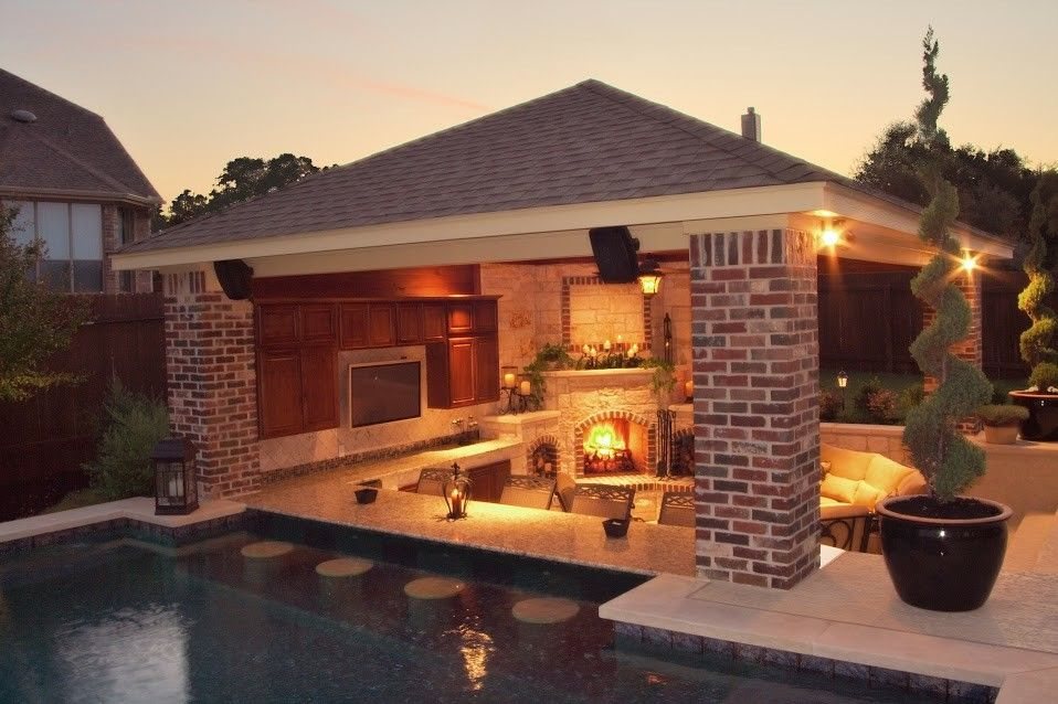 Cody Pools for a Traditional Patio with a Quartzscapes Barbados Blue and Luxury Backyards by Cody Pools, Inc.
