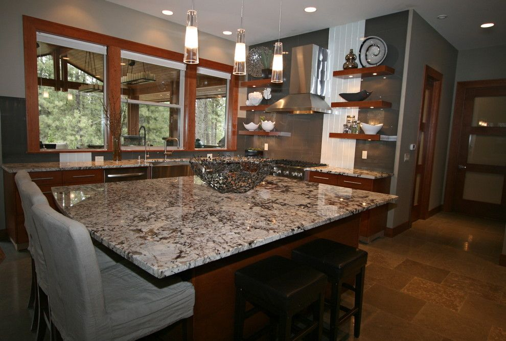 Cold Spring Granite for a Contemporary Kitchen with a Large Island and Unique Kitchen by Taylor Design