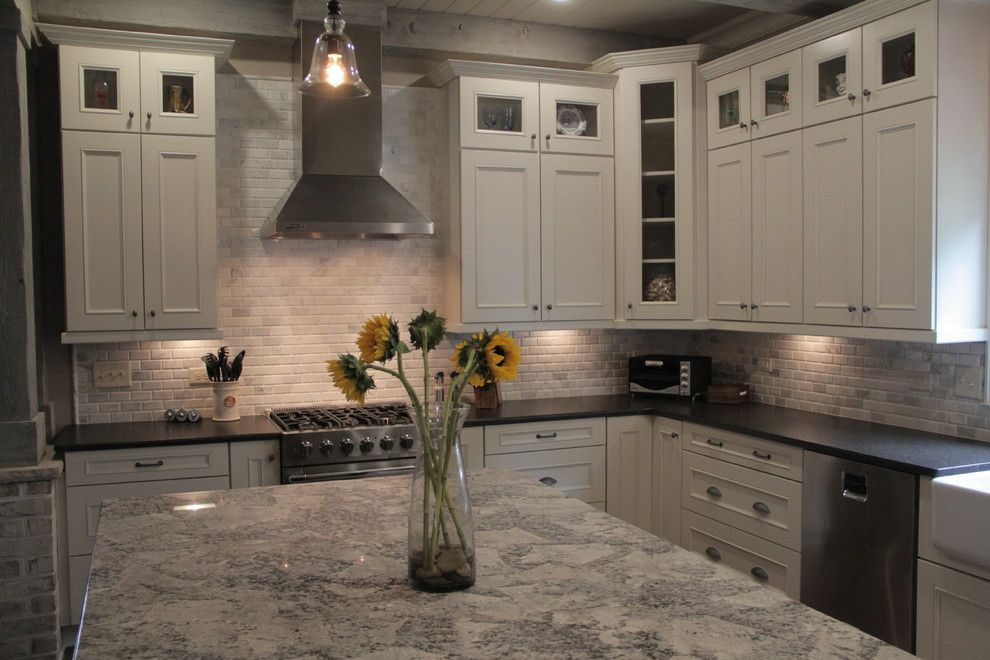 Cold Spring Granite for a Traditional Kitchen with a Linen Kitchen Cabinets Farmhouse Sleek Gray Open and Custom Cabinets by Marsh Kitchens